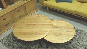 שולחן סלון עגול מעץ מלא דגם רדיוס חן בן טל