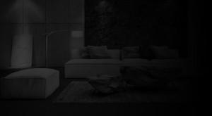 MOdern interior design of living room B&W (3d Render)